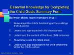 essential knowledge for completing the child goals summary form