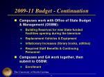 2009 11 budget continuation