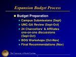 expansion budget process
