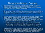 recommendations funding