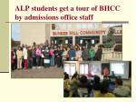 alp students get a tour of bhcc by admissions office staff