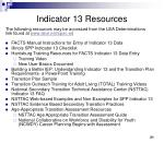 indicator 13 resources