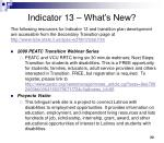 indicator 13 what s new