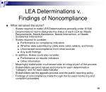lea determinations v findings of noncompliance