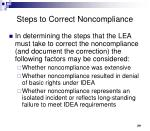 steps to correct noncompliance