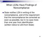 when leas have findings of noncompliance