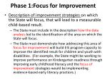 phase 1 focus for improvement