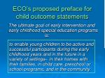 eco s proposed preface for child outcome statements