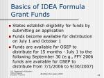 basics of idea formula grant funds