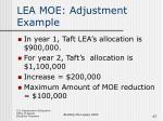 lea moe adjustment example