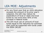 lea moe adjustments