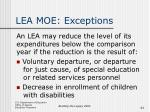 lea moe exceptions