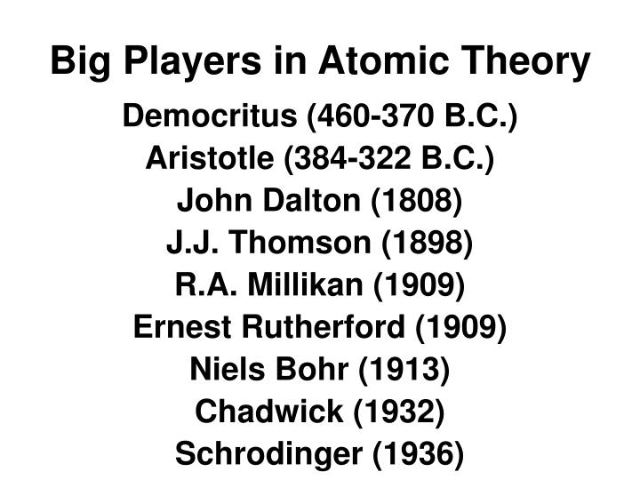 Big Players in Atomic Theory