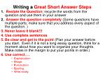 writing a great short answer steps