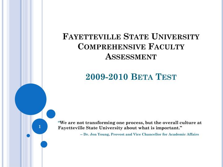fayetteville state university comprehensive faculty assessment 2009 2010 beta test n.