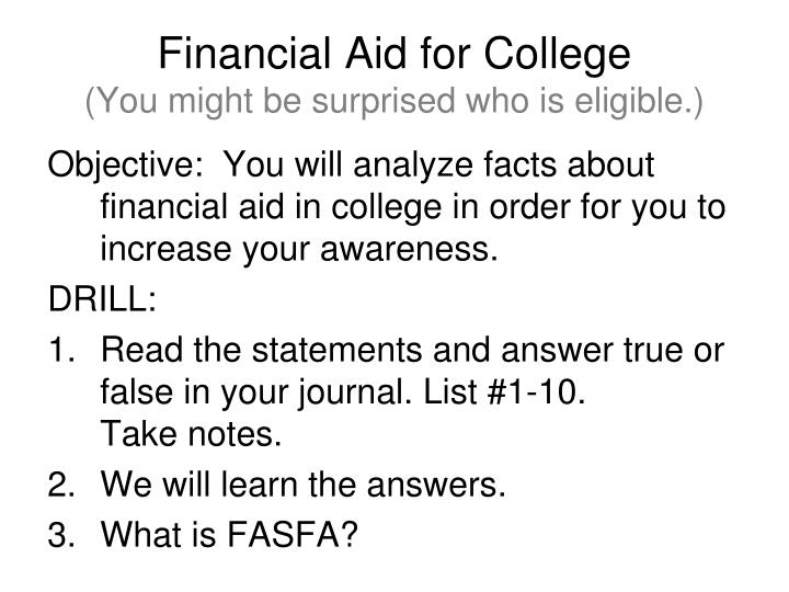 financial aid for college you might be surprised who is eligible n.
