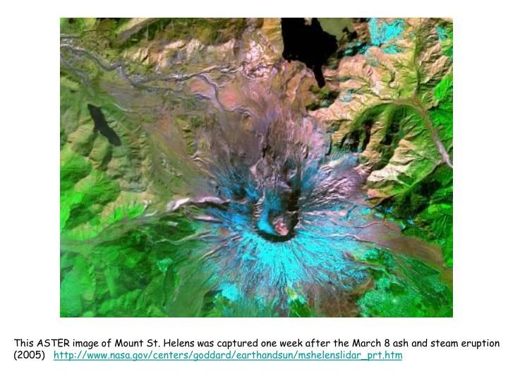 This ASTER image of Mount St. Helens was captured one week after the March 8 ash and steam eruption (2005)