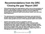 recommendations from the drc closing the gap report 2007