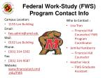 federal work study fws program contact info