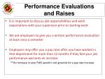 performance evaluations and raises