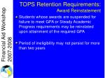 tops retention requirements award reinstatement