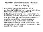 reaction of authorities to financial crisis solvency3