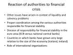 reaction of authorities to financial crisis