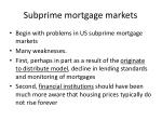 subprime mortgage markets
