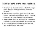 the unfolding of the financial crisis