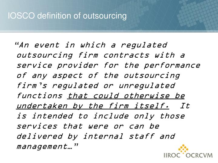Iosco definition of outsourcing