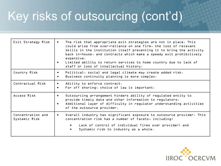 Key risks of outsourcing (cont'd)
