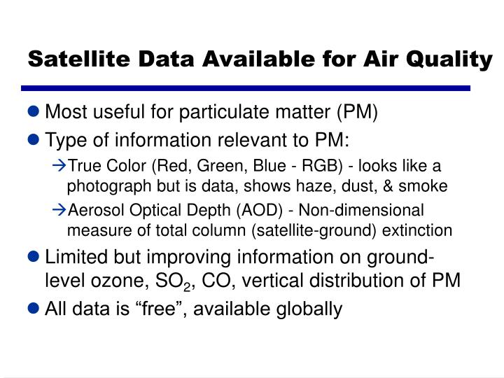 Satellite Data Available for Air Quality