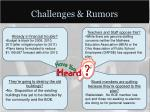 challenges rumors