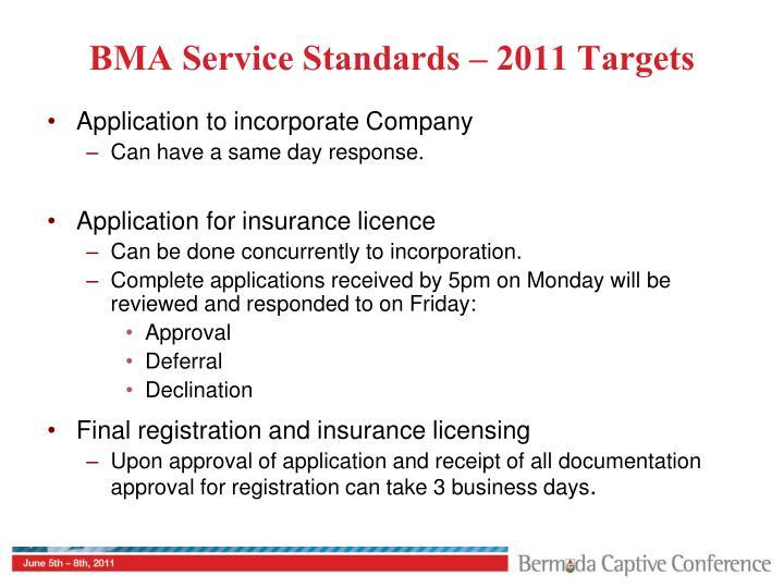 BMA Service Standards – 2011 Targets