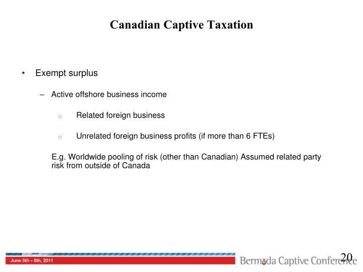 Canadian Captive Taxation