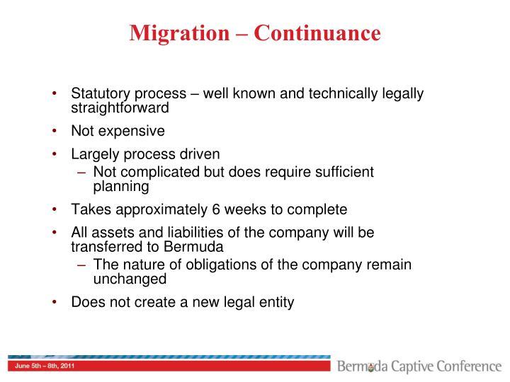 Migration – Continuance