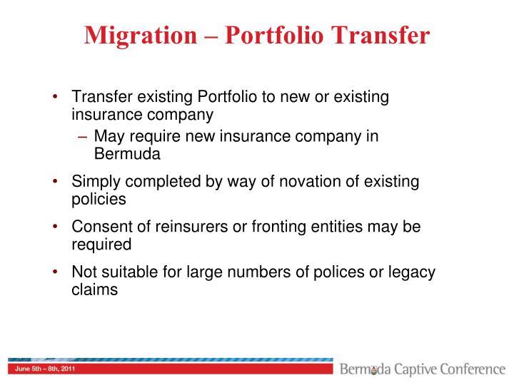 Migration – Portfolio Transfer