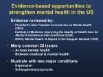 evidence based opportunities to strengthen mental health in the us