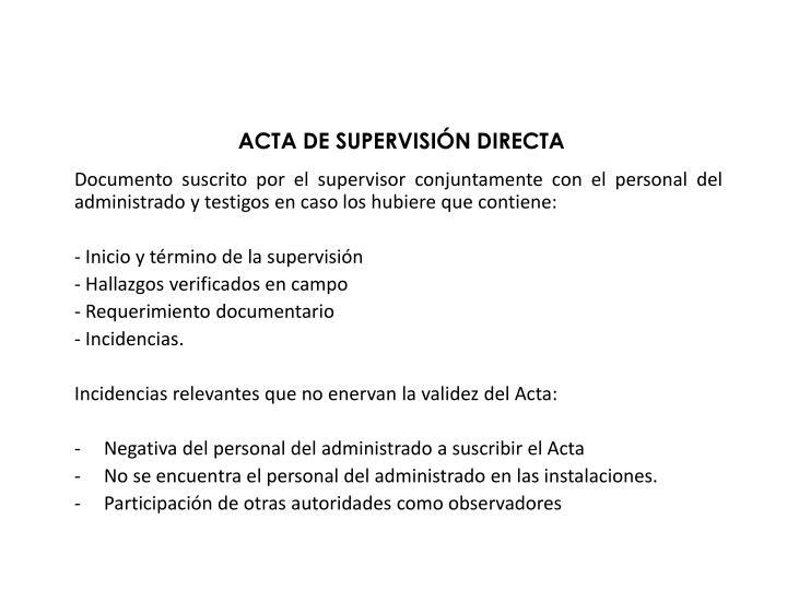 ACTA DE SUPERVISIÓN DIRECTA