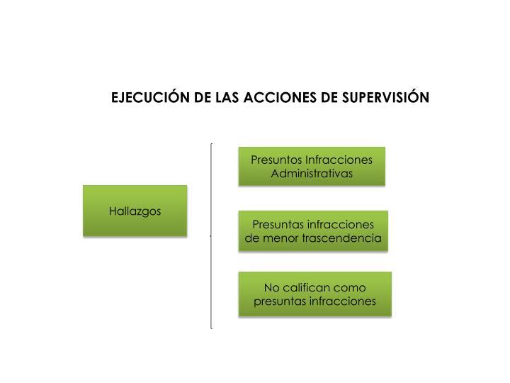 EJECUCIÓN DE LAS ACCIONES DE SUPERVISIÓN