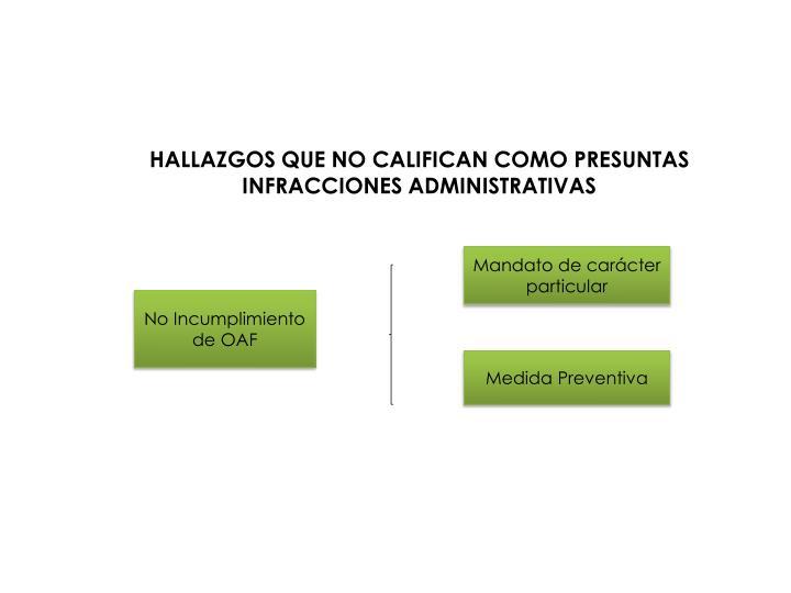 HALLAZGOS QUE NO CALIFICAN COMO PRESUNTAS INFRACCIONES ADMINISTRATIVAS