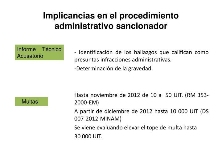 Implicancias en el procedimiento administrativo sancionador