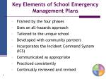 key elements of school emergency management plans