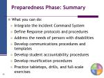 preparedness phase summary
