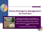 school emergency management an overview