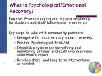 what is psychological emotional recovery