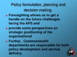 policy formulation planning and decision making