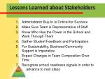lessons learned about stakeholders