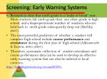 screening early warning systems
