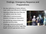 findings emergency response and preparedness
